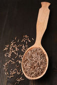 Spice cumin in spoon on wooden background — Stock Photo