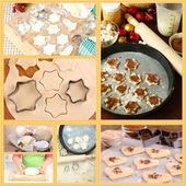 Collage av att göra cookies — Stockfoto