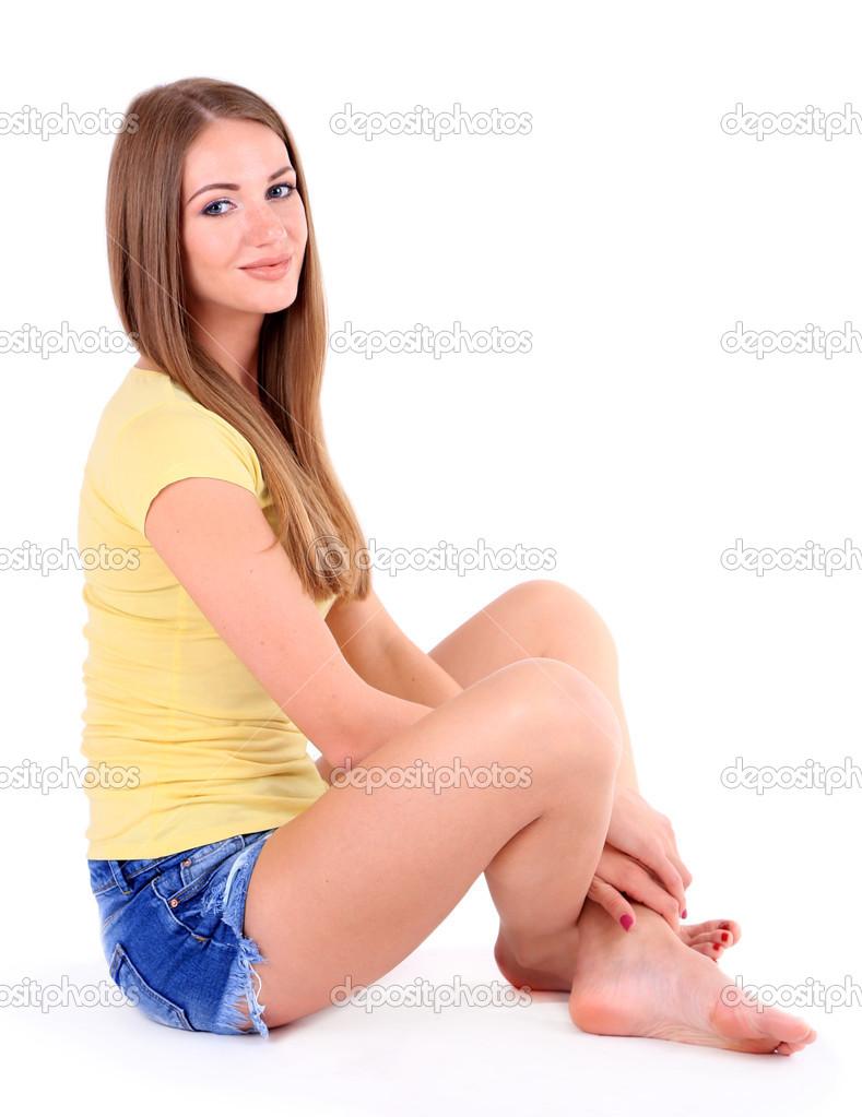 Depositphotos Stock Photo Beautiful Young Girl Shorts Little