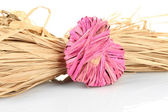 Decorative straw for hand made and heart of straw, isolated on white — Stock Photo