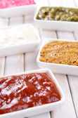 Various sauces on table close-up — Stock fotografie
