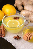 Healthy ginger tea with lemon and honey on table close-up — Stock Photo