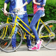 Young couple with bicycles in park — Stock Photo #46451957