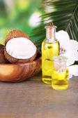 Kokosnüsse und Kokosöl auf Holztisch, auf Natur Hintergrund — Stockfoto