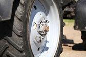 Big tractor wheel, close-up — Stock Photo