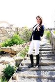 Woman for horseback riding costume — Stock Photo