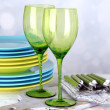 Color table settings, on table, on light background — Stock Photo #46467789
