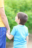 Happy dad and son in the park — Stock Photo