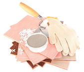 Ceramic tiles and tools — Stock Photo