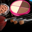 Professional make-up tools on black background — Stock Photo #46493443