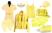 Collage of clothes in yellow colors isolated on white — Stock Photo