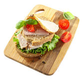 Delicious sandwiches with meet isolated on white — Foto de Stock
