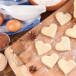 Making cookies on wooden background — Stock Photo #46530275