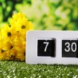 Digital alarm clock on green grass, on nature background — Stock fotografie #46530521