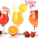 Refreshing fruit cocktails isolated on white — Stock Photo #46537943