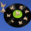 Old vinyl record with paper butterflies, on blue background — Stock Photo #46539299