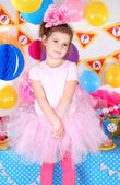 Pretty little girl celebrate her birthday — Foto de Stock