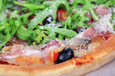 Pizza with arugula, close-up — Stock Photo