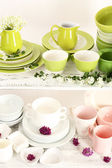 Different tableware on shelf, close up — Stock fotografie