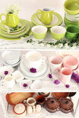 Different tableware on shelf, close up — Stockfoto