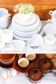 Different tableware on shelf, on wooden background — Foto de Stock