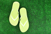 Bright flip-flops on green grass background — Stock Photo