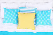 Comfortable soft bed with pillows  — Stock Photo