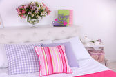 Comfortable soft bed in room — Stock Photo