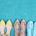 Female fashion shoes on blue carpet — Stock Photo #46581065