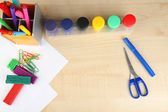 Composition of various creative tools  on color wooden background — Stock Photo