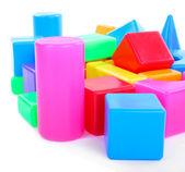Färgglada plastleksaker isolerad på vit — Stockfoto