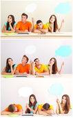 Collage de groupe de jeunes étudiants avec bulles pensez-vous vides — Photo