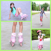 Collage of photos with girl in roller skates — Stock Photo