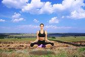 Dziewczyny piękne lecą i medytacji w jogi — Zdjęcie stockowe