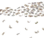 Flying dollars banknotes isolated on white — Stock Photo