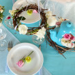 Beautiful holiday Easter table setting in blue tones, on light background — Stock Photo #46603131