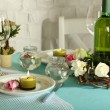 Beautiful holiday Easter table setting in blue tones, on light background — Stock Photo #46603141