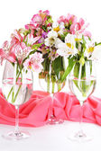 Freesias in glasses on table close-up — Foto Stock