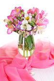 Freesias in glass on table close-up — Foto Stock