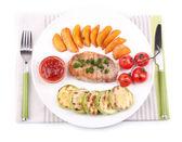 Grilled steak and grilled vegetables — Foto de Stock