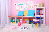 Interior of classroom in pink tones at school — Stock fotografie
