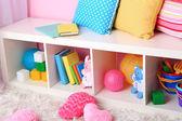 Interior of classroom in pink tones at school — Stock Photo