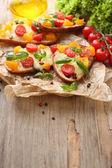Bruschetta with tomatoes — Stock Photo