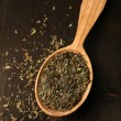 Spice greens in spoon on wooden background — Stock Photo #47173481
