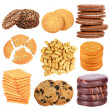 Collage of tasty cookies isolated on white — Stock Photo