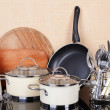 Kitchen tools on table in kitchen — Stock Photo #47213195