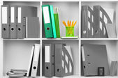 Concept of individuality.One color shelve with stationery among grey shelves with stationery — Stock Photo