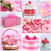 Collage of photos with flowers and gifts — Stock Photo