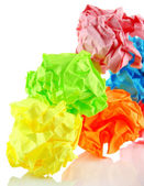 Colorful crumpled paper balls isolated on white — Stock Photo
