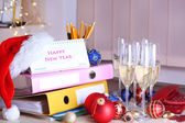 New Year party at office close-up — Stock fotografie